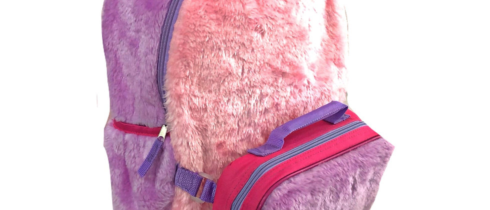 FAUX FUR BACKPACK W/ LUNCH BOX