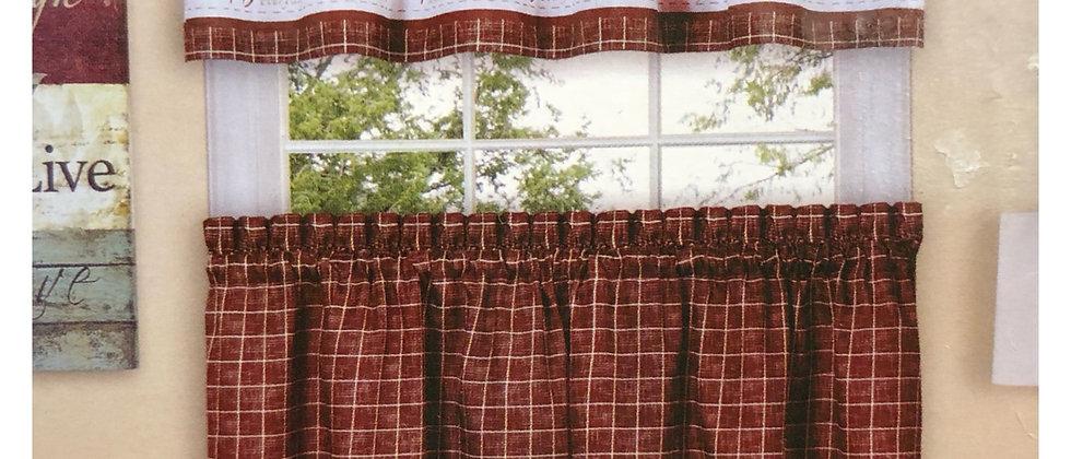 "Live Love Laugh Burgundy  - 3-pc 36"" Kitchen Curtain Set"