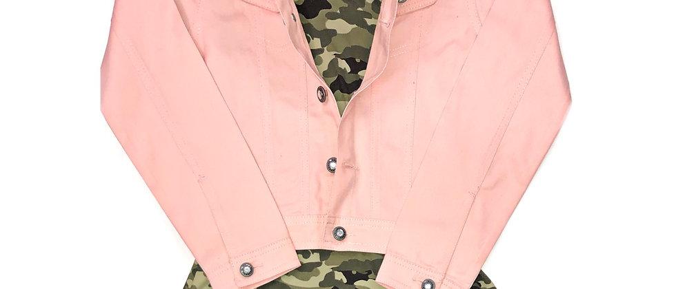 One Step Up- Denim Jacket with Camo Dress