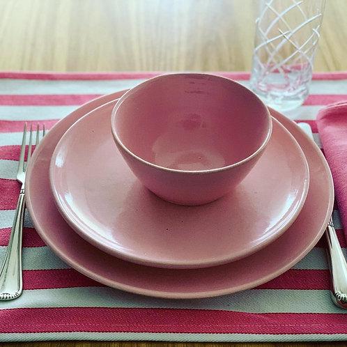 Conjunto de pratos+bowl rosa