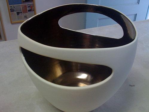 Vaso em porcelana esmalte bronze