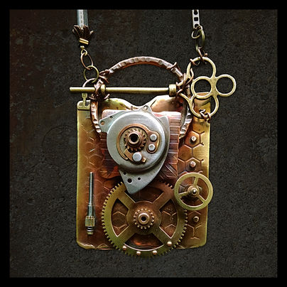 steampunk art jewelry necklace by sheri cohen of indigo lights