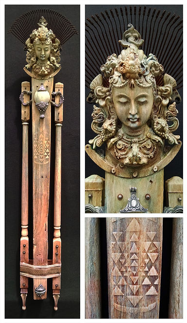 Serenity mixed media art totem by Brian Giberson of indigo lights