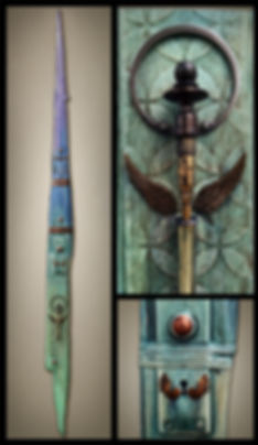 mixed media art totem by Brian Giberson of indigo lights