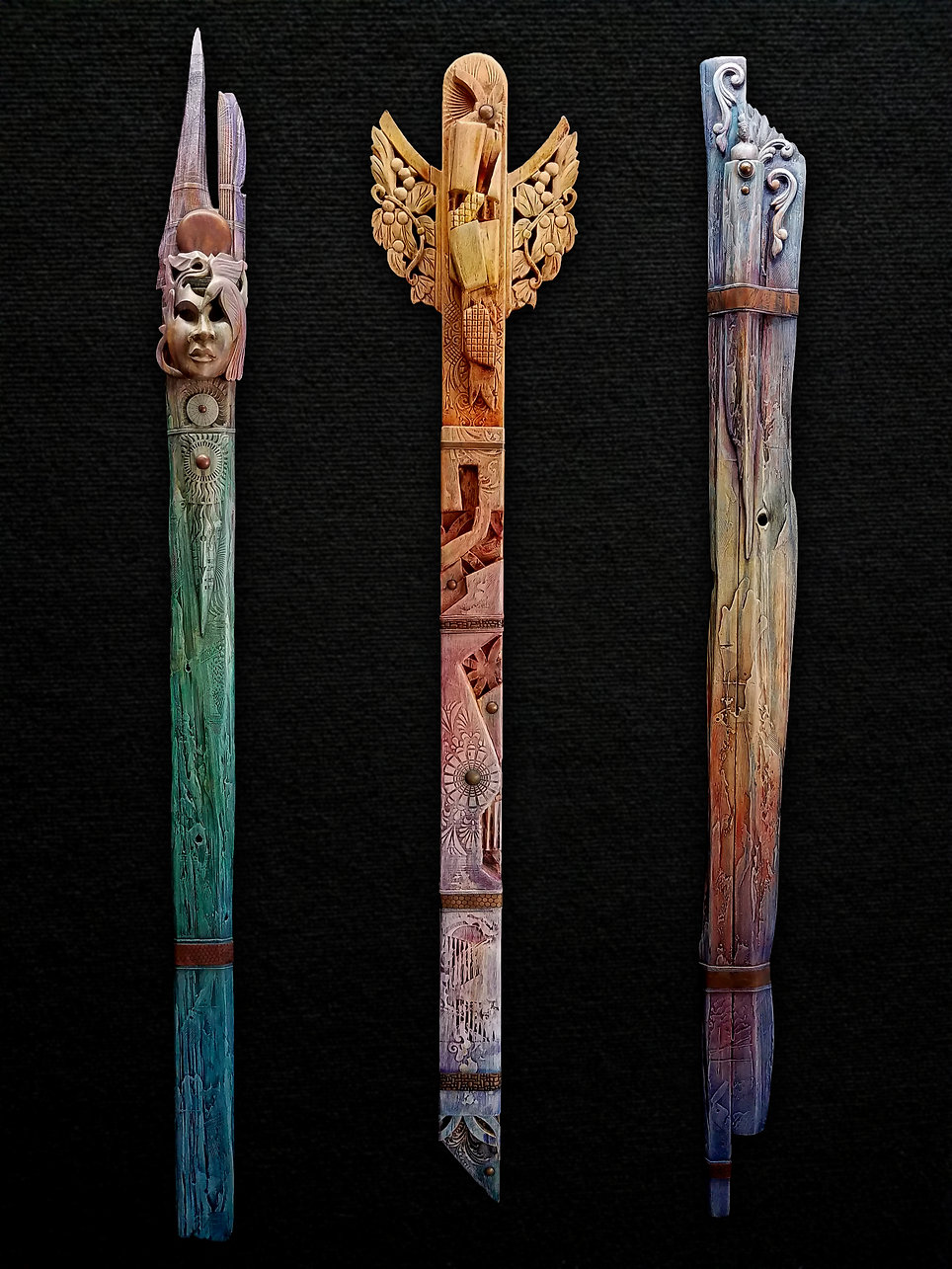 """Totem Grouping 1 Left: Morning Song Mixed Media ~ Acrylic, and Copper on Wood 75""""H x 5.5""""W x 3.5""""D  Center: Morning Flight  Mixed Media ~ Acrylic, and Copper on Wood 64""""H x 11.5""""W x 2.5""""D  Right: Ancestral Songs Mixed Media ~ Acrylic, and Copper on Wood 72""""H x 6""""w x 2""""D"""