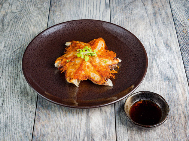 In Ramen_Parmesan crusted chicken gyuza-