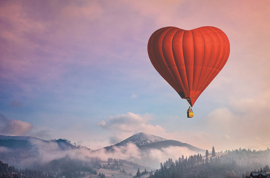 Beautiful red air balloon heart shape ag