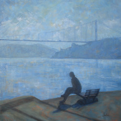 18.Bosphorus Bridge- On the bench. 80x80.JPG