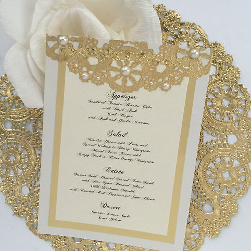 Metallic Cream and Gold with Pearls Menu Card