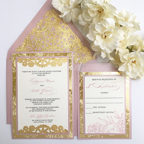 Mauve and Gold Invitation