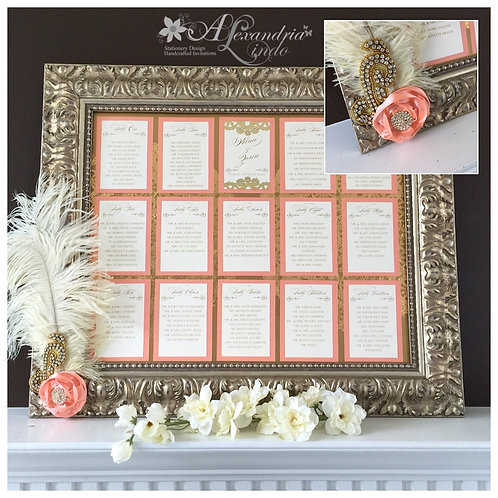 Coral and Gold Vintage Seating Chart Frame