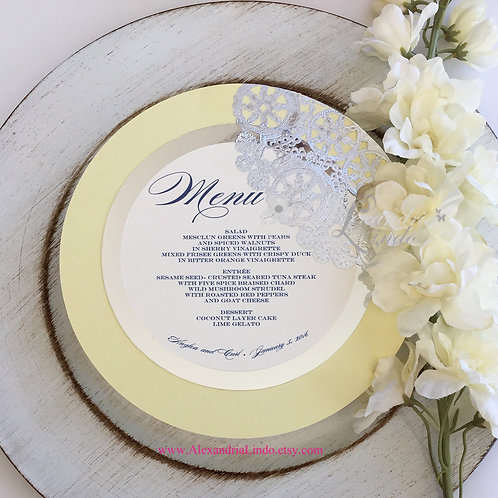 Yellow and Silver Menu Card