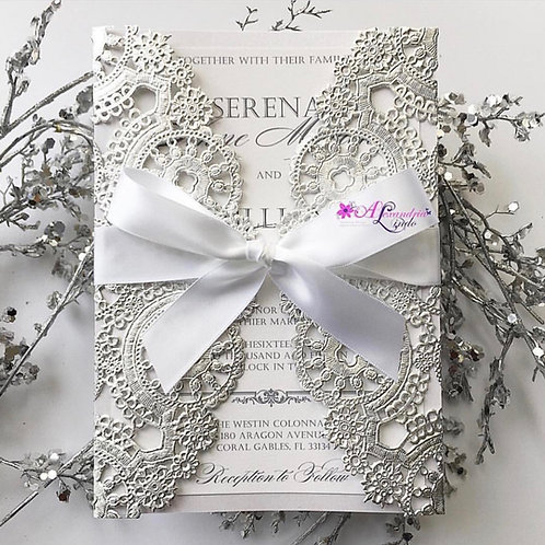 Silver and White Invitation