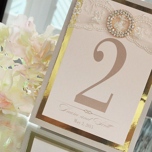 Blush, Champagne and Gold Table Number