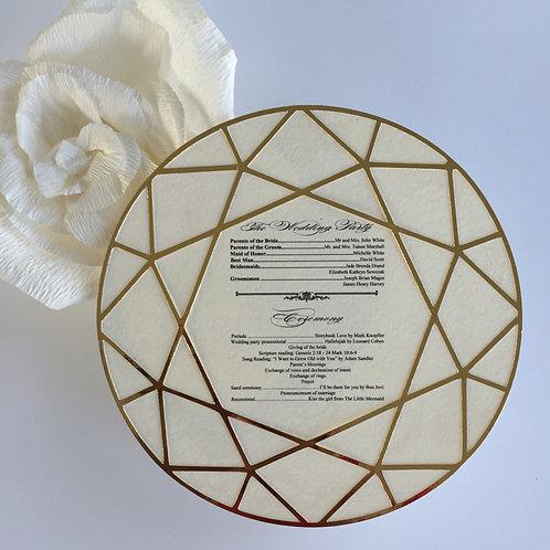 Diamond Die Cut Ceremony Program in Gold and Cream