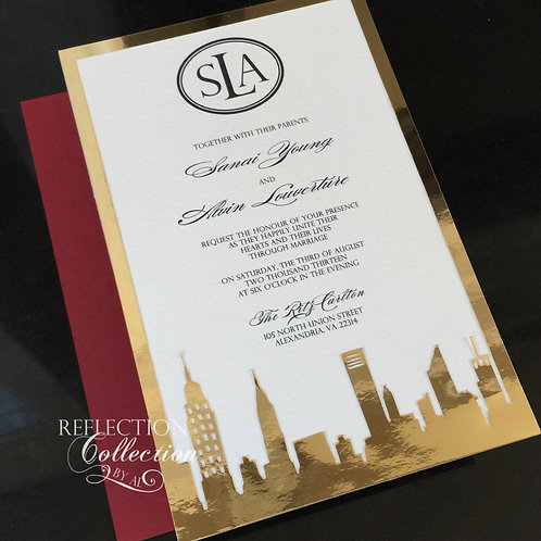 Black and Red New York Skyline Invitation