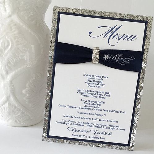 Navy Blue and Silver Sequin Menu Card