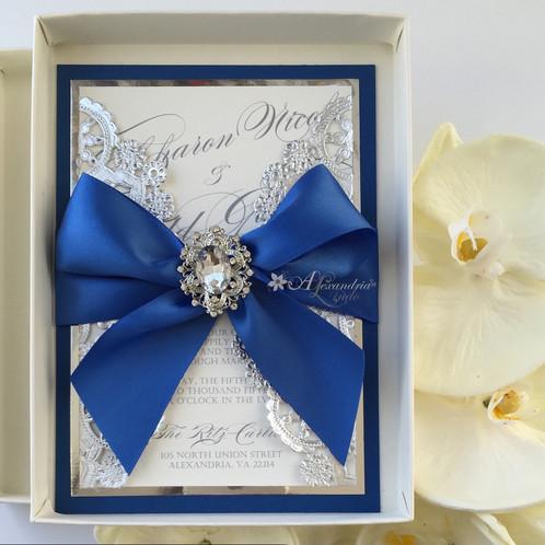 royal blue and silver invitation