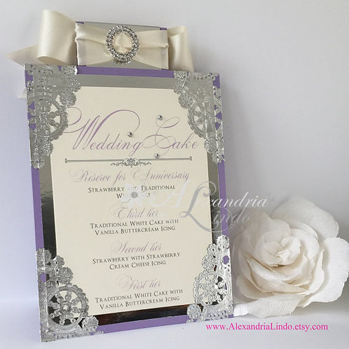Lilac/Lavender Menu Card- Self Standing