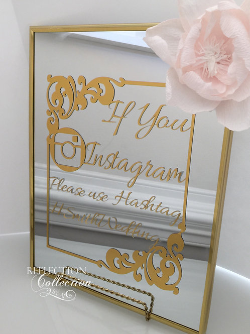 Mirror with Gold Foil Instagram Sign