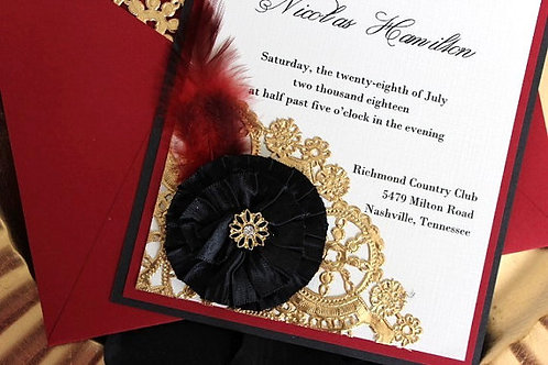 Red, Black and Gold Invitation