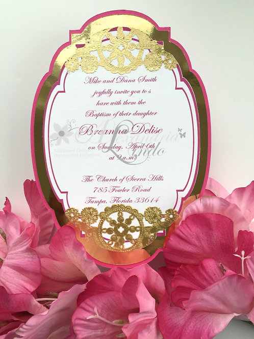 Hot Pink and Gold Invitation