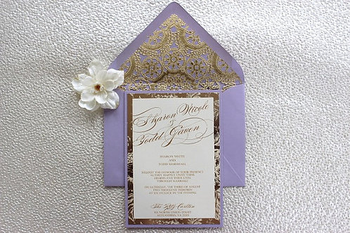 Lilac/Lavender and Gold Invitation