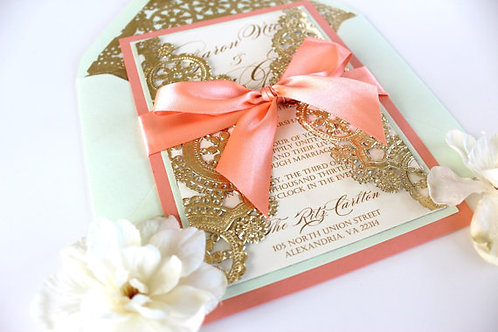 Coral and Gold Invitation