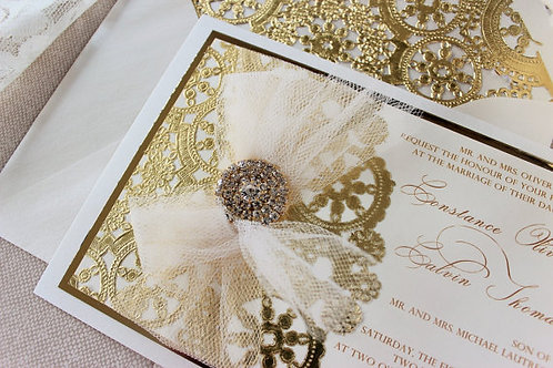 Metallic Cream and Gold Invitation