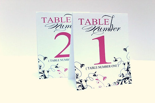 Tented Style Table Number in Navy and Pink