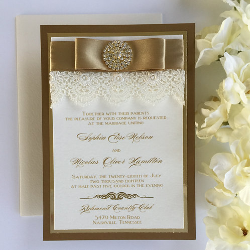 Vintage Gold and Lace Invitation