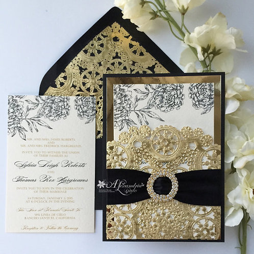 Black and Gold Pocket Peonies Invitation
