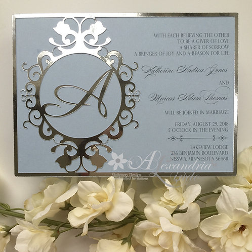 Baby Blue and Silver Invitation