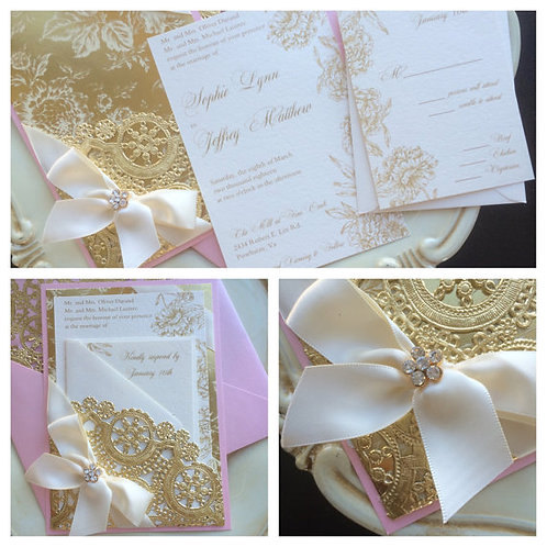Metallic Pink and Gold Invitation
