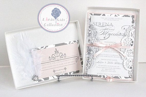 Blush and Silver Couture Invitation