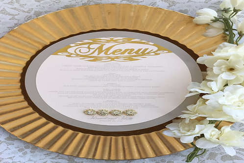 Metallic Champagne and Blush with Gold Round Menu
