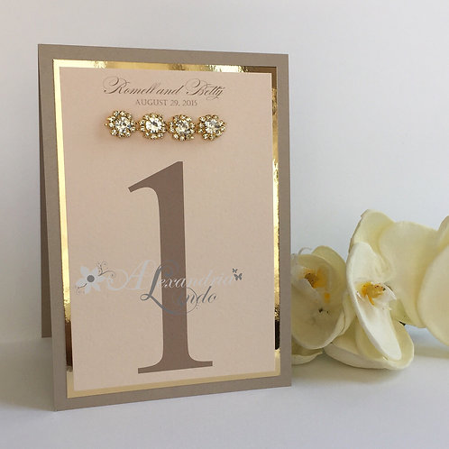 Metallic Champagne, Blush with Gold Table Number