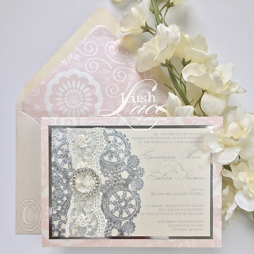 Metallic Blush, Cream and Silver Invitation