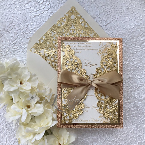 Rose Gold Glitter and Gold Peonies Invitation