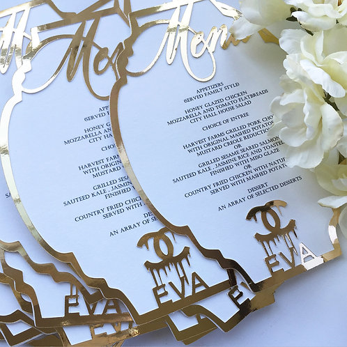 High Fashion White, Black and Gold  Menu Cards