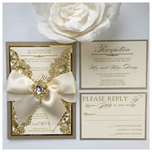 Metallic Champagne and Gold Invitation