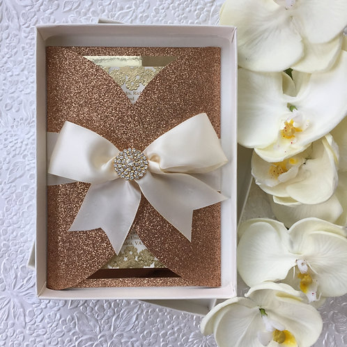 Rose Gold Glitter and Gold Invitation