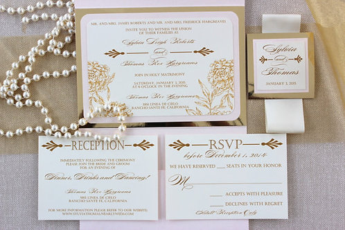 Blush and Pearl with Gold Invitation