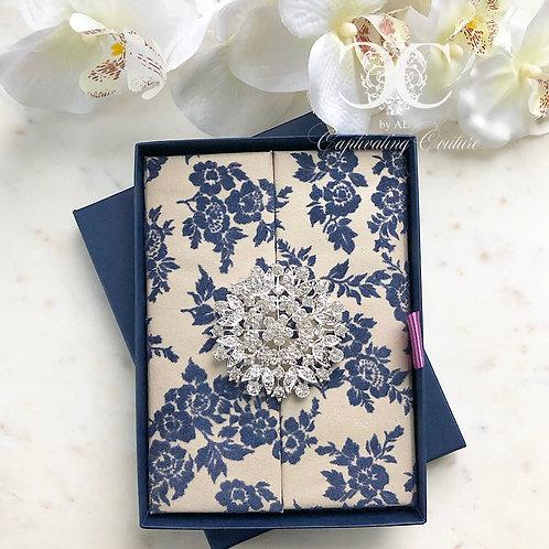 Blue Flocked Velvet Floral