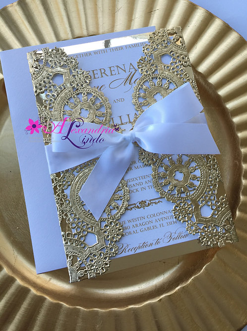 White and Gold Invitation