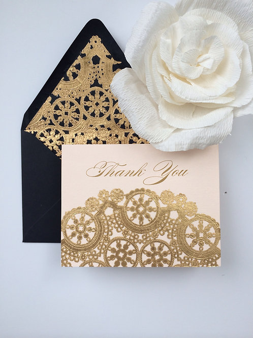 Black and Blush Thank You Cards