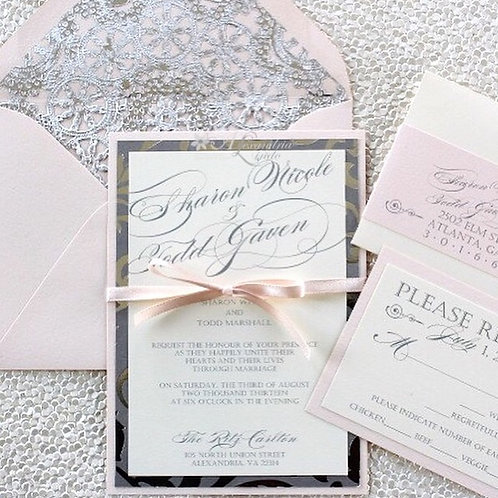 Blush and Silver Invitation