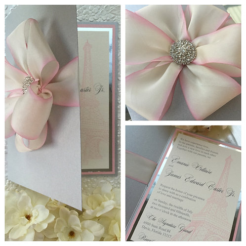 Blush silk Eiffel Tower Invitation