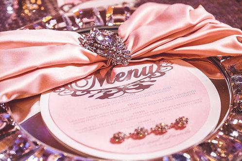 Candy Pink Round Menu Card