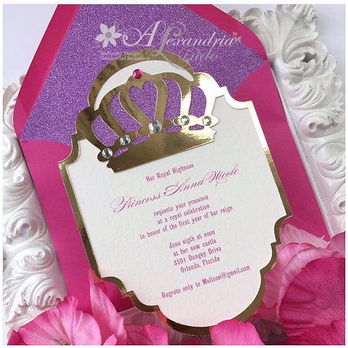 copy of Purple and Pink Princess Crown Invitation